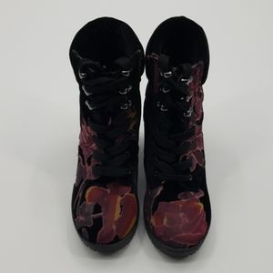SM New York Velour Floral Boots